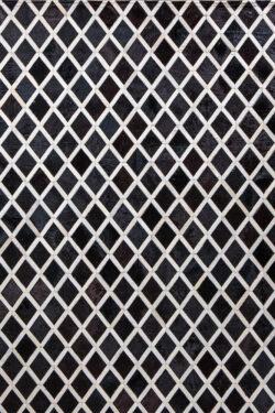 CROSSHATCH  Black   Cream / White - Handmade Cowhide   Geometric   Modern   Patchwork   Custom Rug