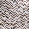 HUSKED CHEVRON  Brown / Mocha   Beige   Grey / Silver - Handmade Cowhide   Geometric   Modern   Patchwork   Custom Rug