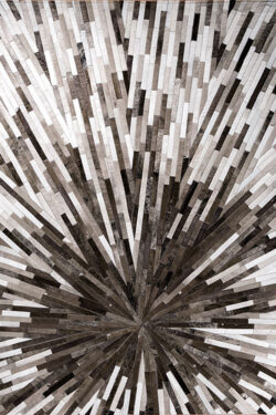INTERSTELLER (GREY)  Beige | Grey / Silver - Handmade Cowhide | Modern | Patchwork | Custom Rug