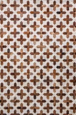 POSITIVIA  Brown / Mocha | Cream / White - Handmade Cowhide | Geometric | Modern | Patchwork | Custom Rug